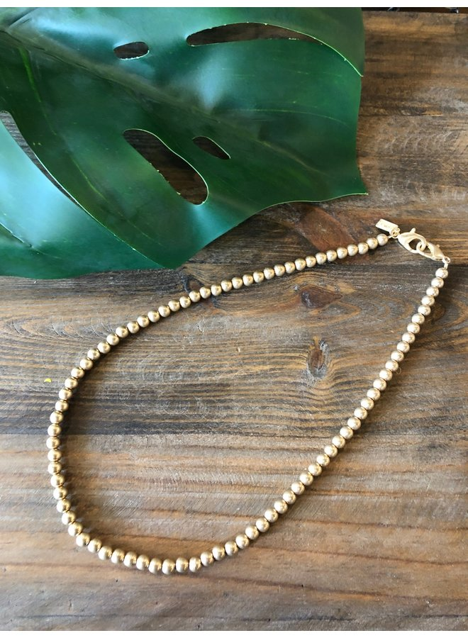 MASK CHAIN SHORT- GOLD BEADS
