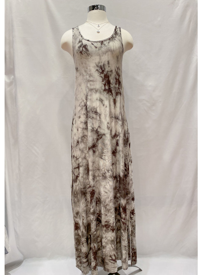 D17463A TIE DYE FLOWY TANK MAXI DRESS