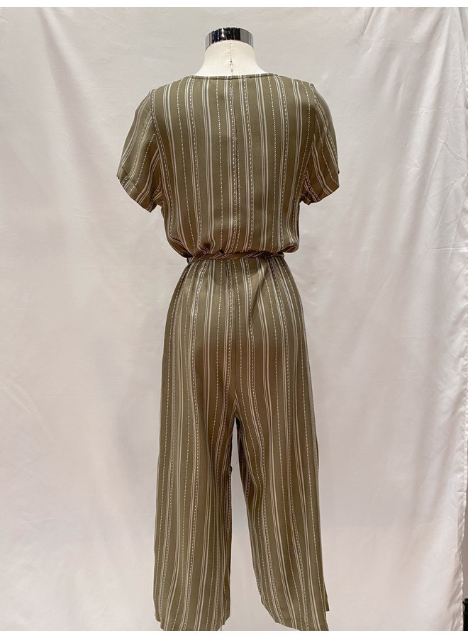 PH3706 DOT STRIPES BUTTON FRONT JUMPSUIT