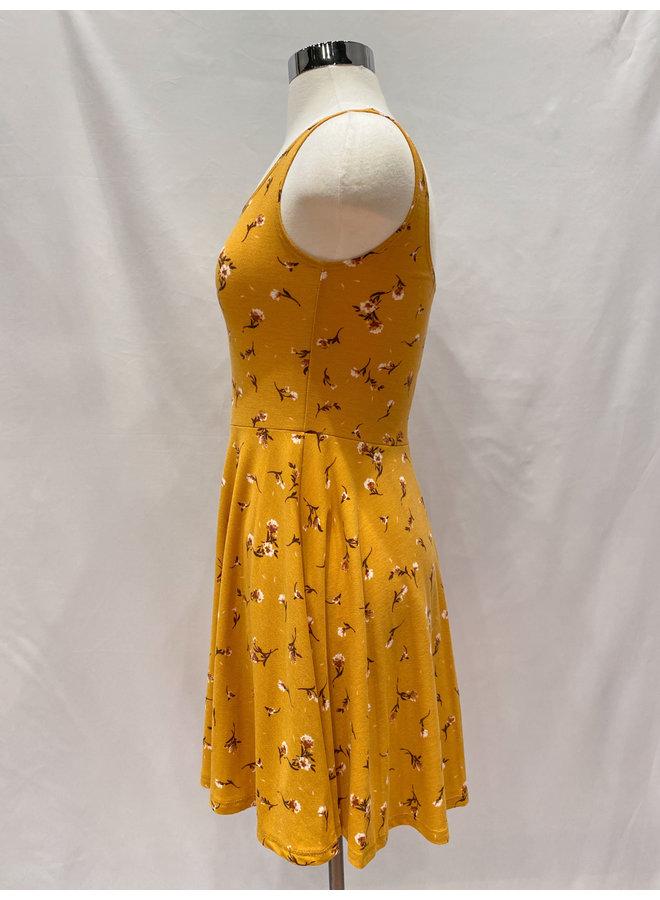 D5945 FLORAL STRETCH KNIT TANK DRESS