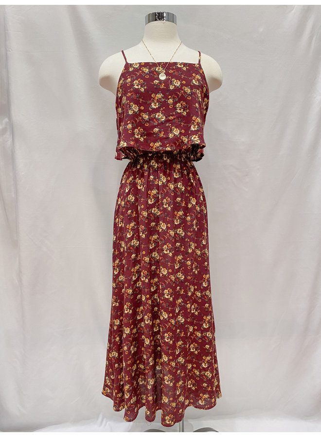 FLOWER OVERLAY MAXI DRESS