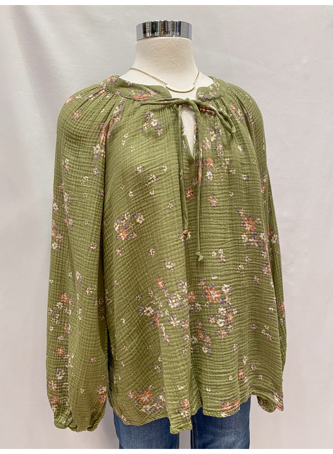 T17196B FLORAL OVERSIZED PEASANT BLOUSE