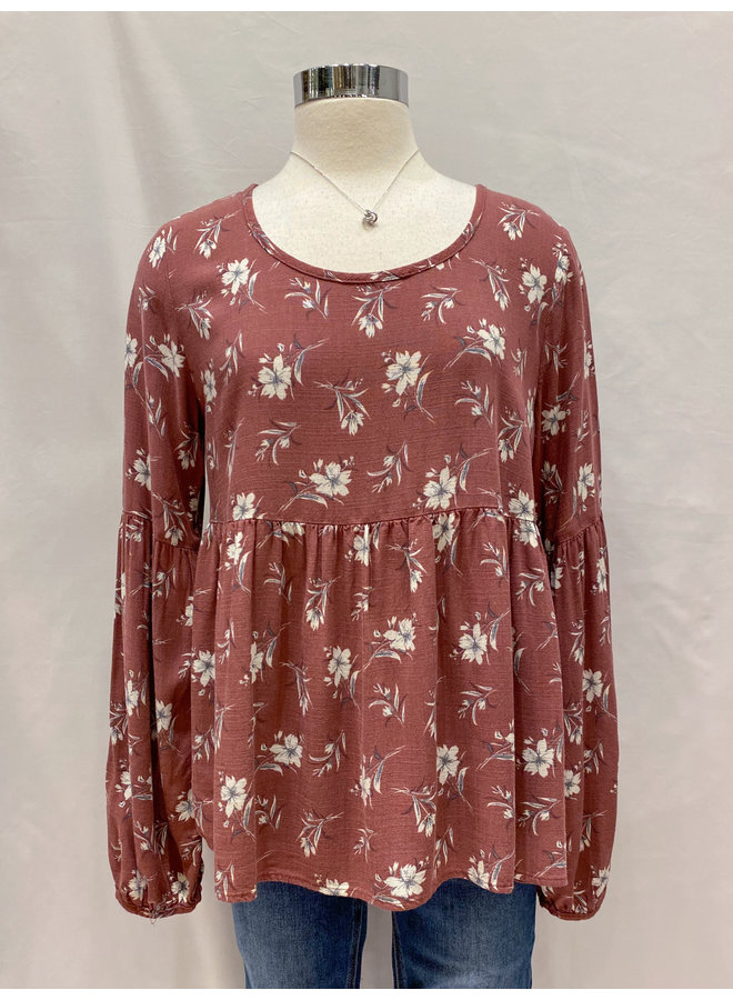 T16962A FLORAL BABYDOLL TOP
