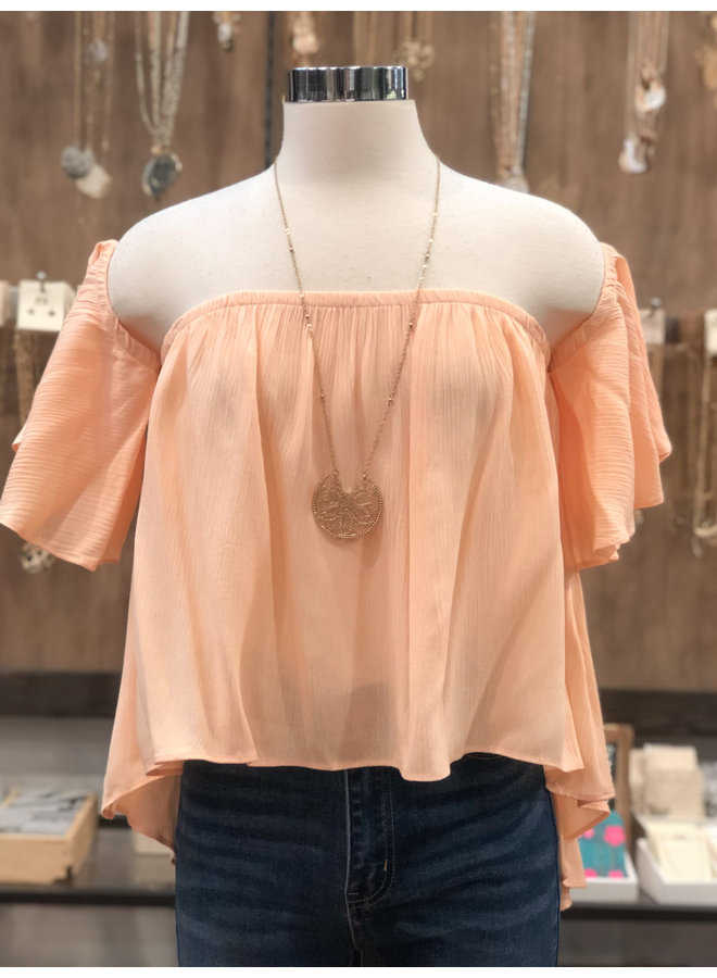 TH5914 OFF SHOULDER HIGH LOW TOP