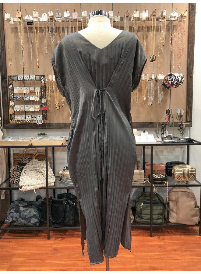 60151-CO PLEATED BACK TIE DRESS