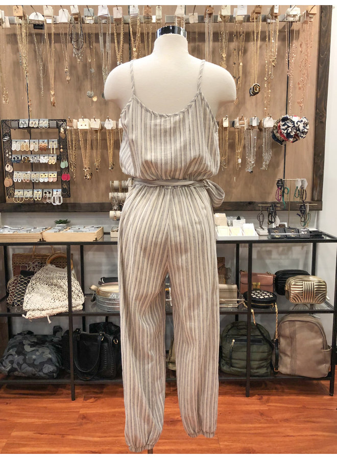 JU16593 LINEN STRIPED JUMPSUIT