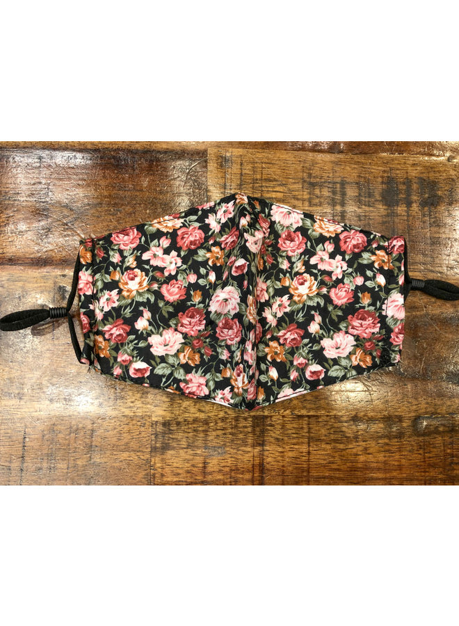 ADULT FACE MASK ADJUSTABLE STRAP FLORAL