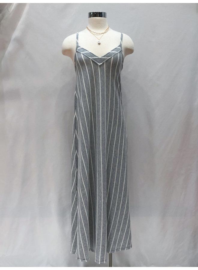 D16818 WAFFLE STRIPED MAXI DRESS