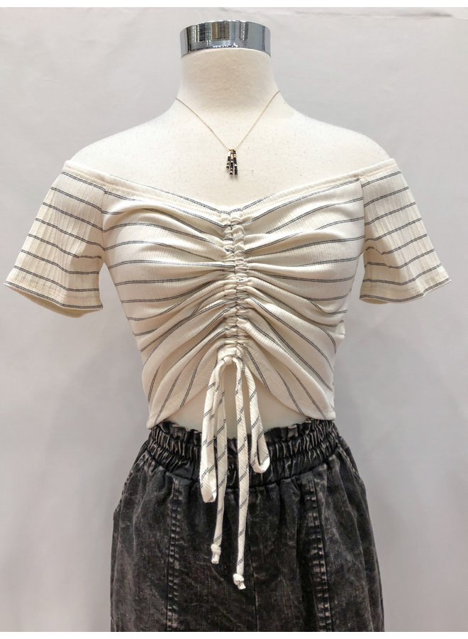 TH9355 STRIPED OFF SHOULDER GATHER TOP