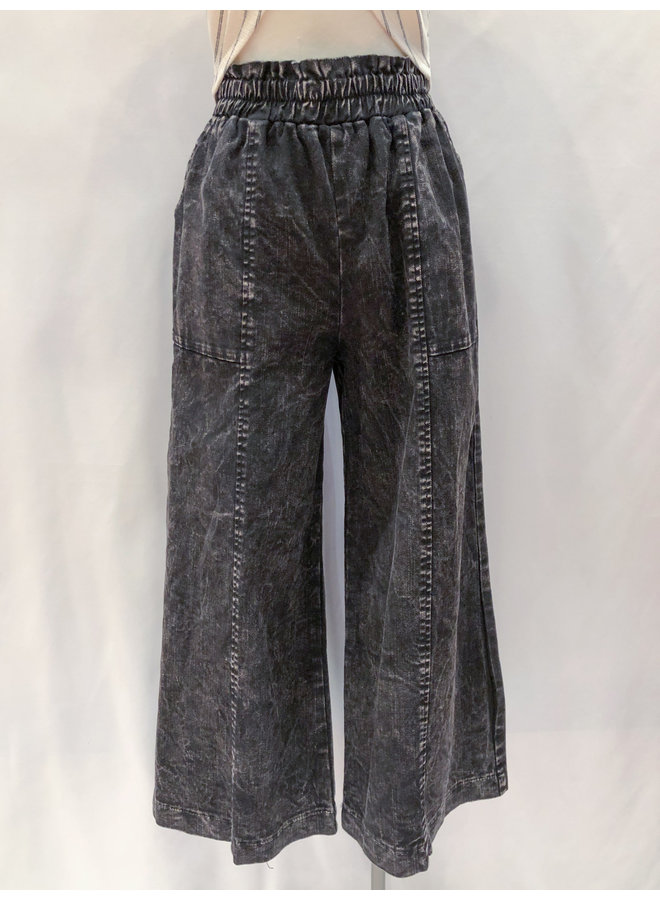 P17406D MINERAL WASHED PAPERBAG PANTS