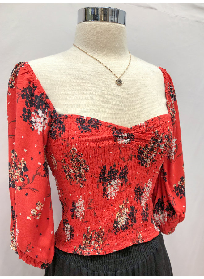 YTA746D FLORAL SMOCKED 3/4 SLEEVE TOP
