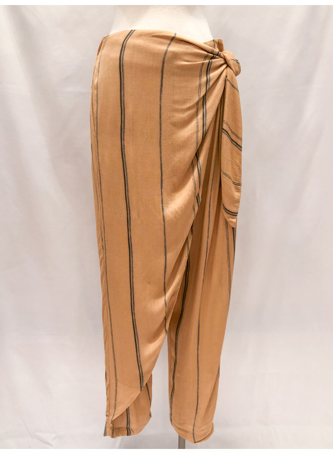 STRIPED GAUZE WRAP PANTS