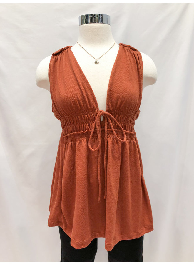 IT30494 CRINKLED KNIT BABYDOLL TOP
