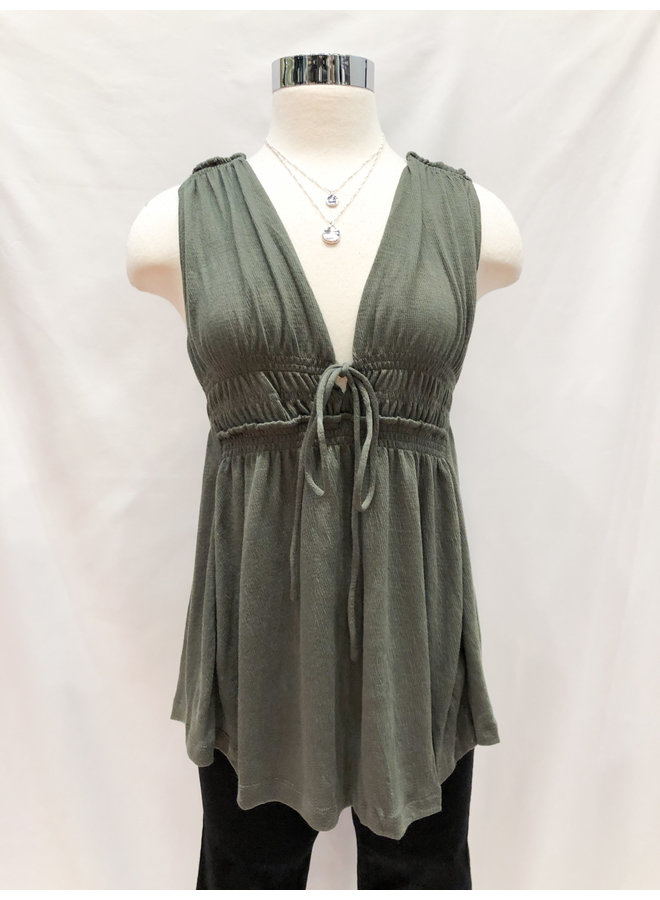 CRINKLED KNIT BABYDOLL TOP *4 colors available*