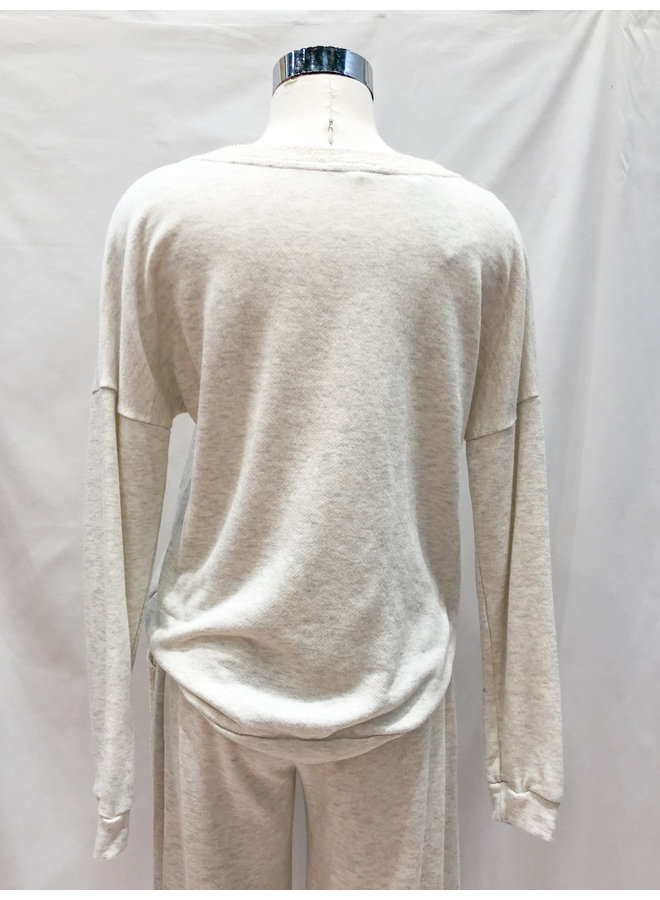 T30088 FRENCH TERRY V-NECK PULLOVER
