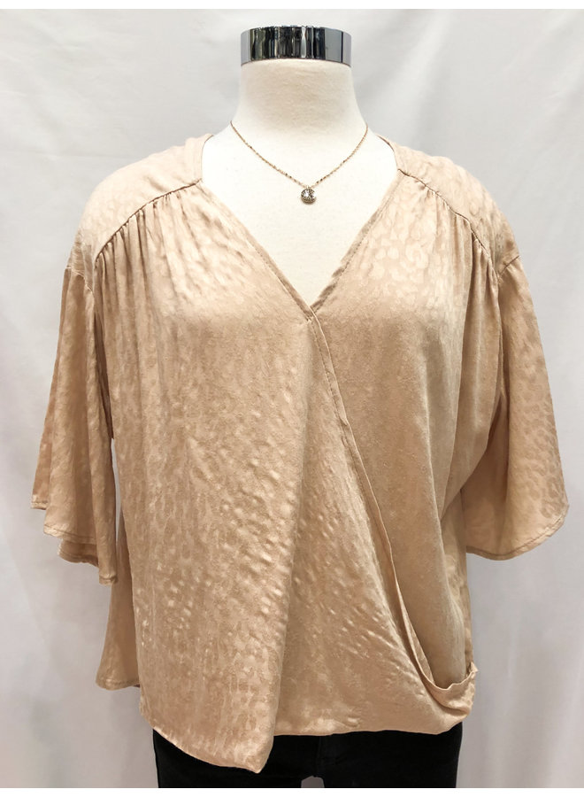 ANIMAL JACQUARD SURPLICE TOP *4 colors available*