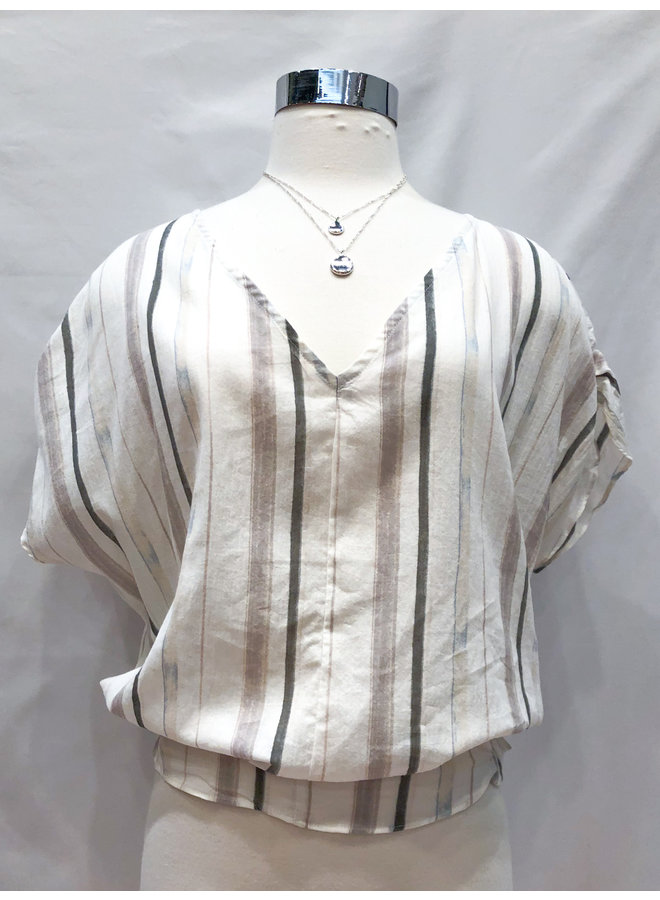 SIDE SMOCKED COTTON TOP