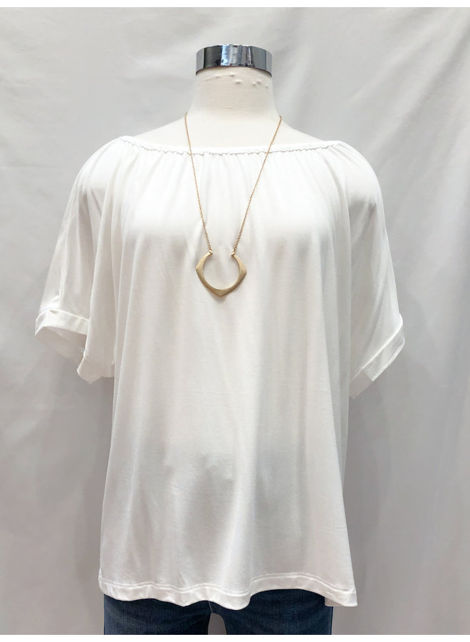 GATHERED NECK TEE *3 colors available*