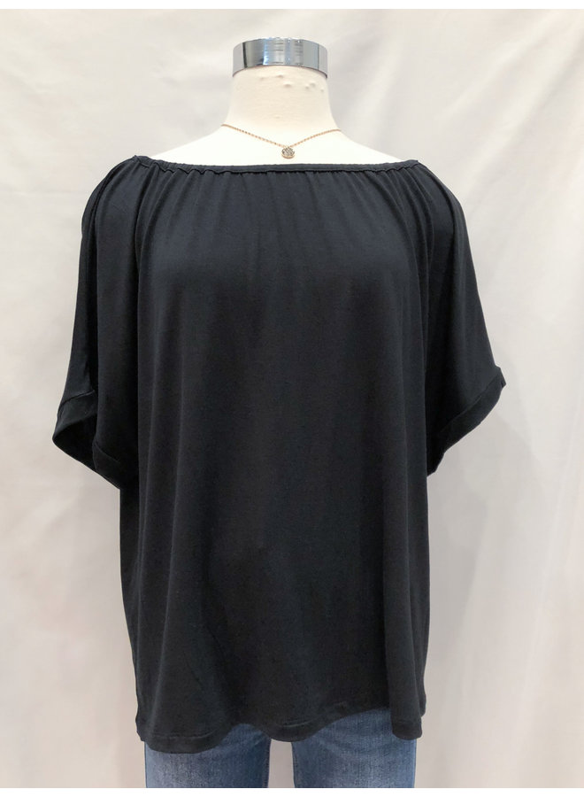 D40611 GATHERED NECK TEE