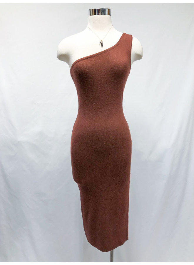 BODYCON ONE-SHOULDER DRESS  *2 colors available*