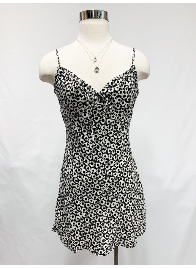 YD652B FLORAL ROUCH DRESS