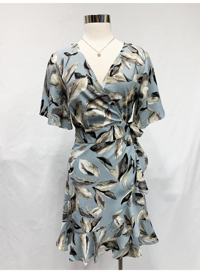 60293LD FLORAL WRAP DRESS