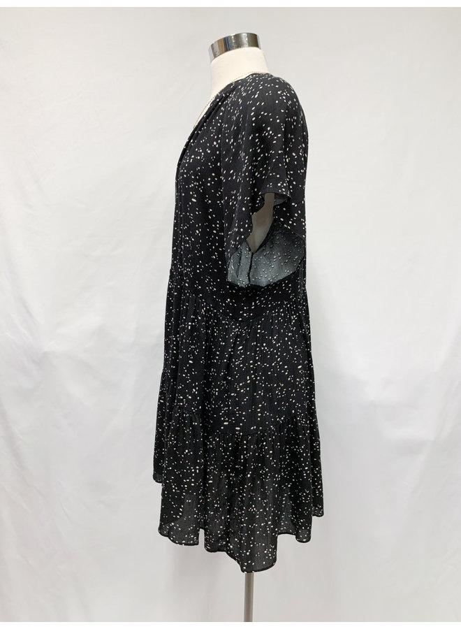 ID30597B SPOTS V-NECK DRESS