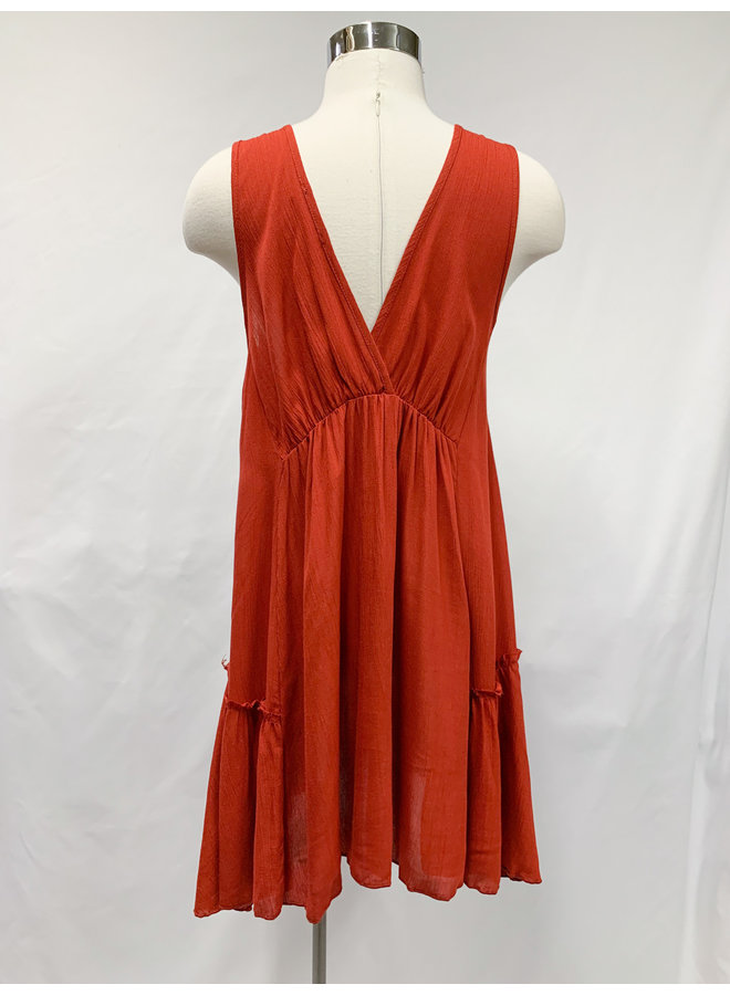 D8955-1H SOLID SWING DRESS