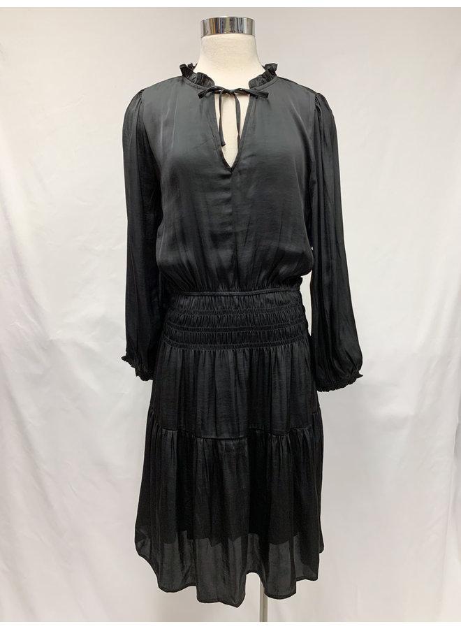 SMOCKED SATIN DRESS