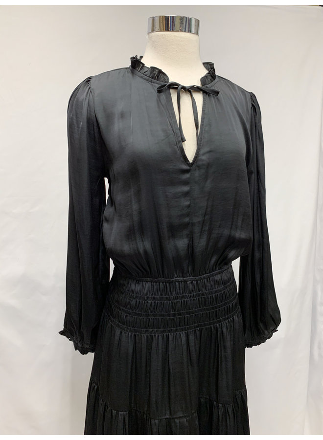 60317 SMOCKED SATIN DRESS
