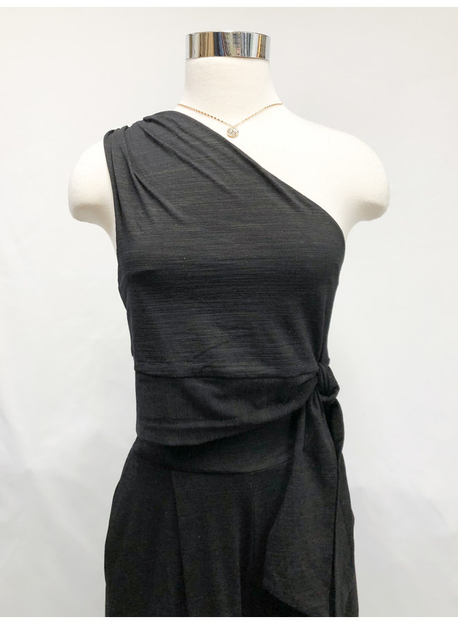 ONE SHOULDER TIE TOP  *2 colors available*
