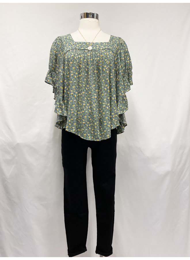 IT30806B FLORAL WING SLV TOP