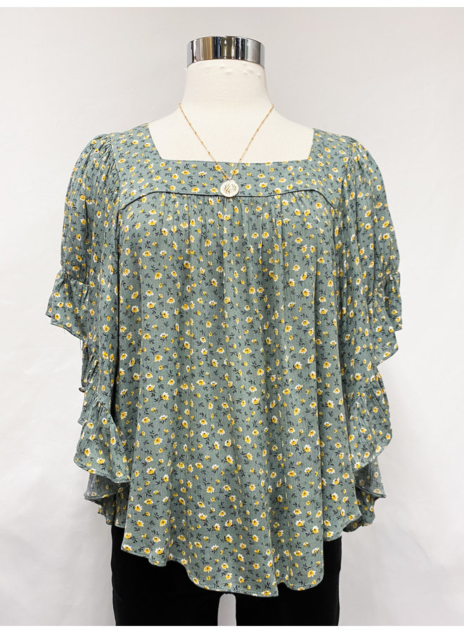 FLORAL WING SLEEVE TOP