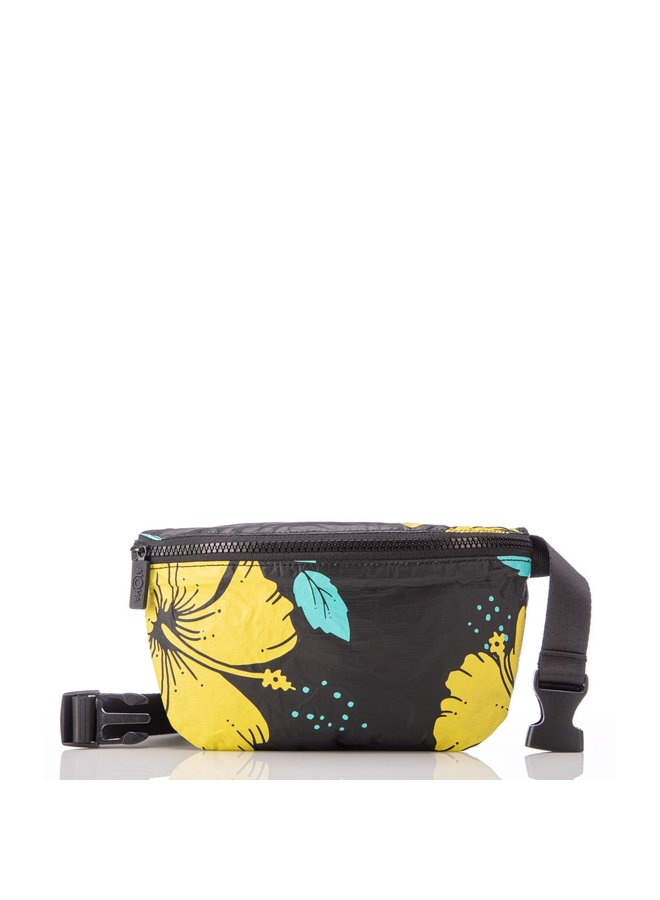 ALOHA COLLECTION HIP PACK HIBISCUS BLACK/CANARY