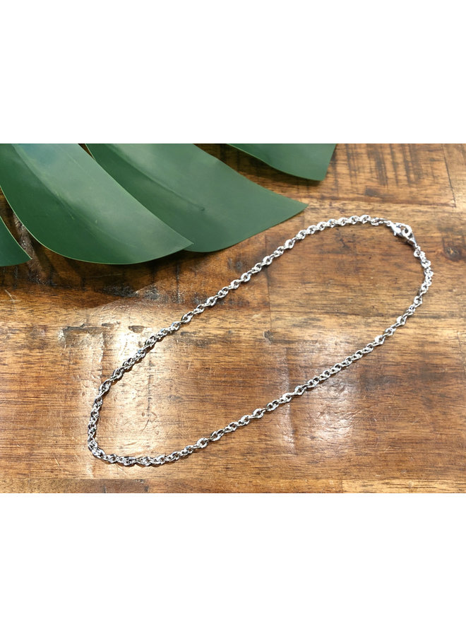 MASK CHAIN SHORT-SILVER TWISTED LINK