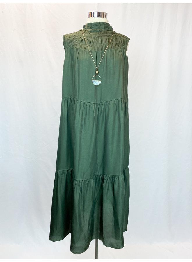 SMOCKED NECK TIERED DRESS