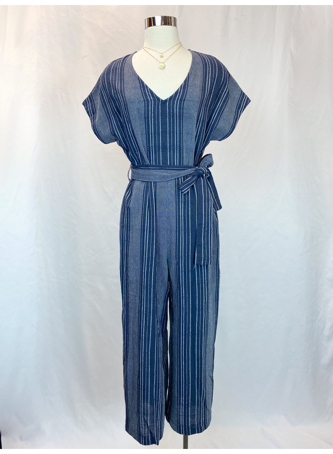 STRIPE V-NECK JUMPSUIT