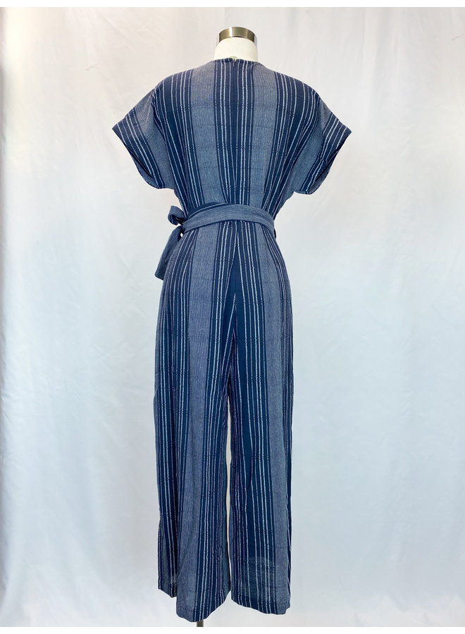 WCT389 STRIPE V-NECK JUMPSUIT