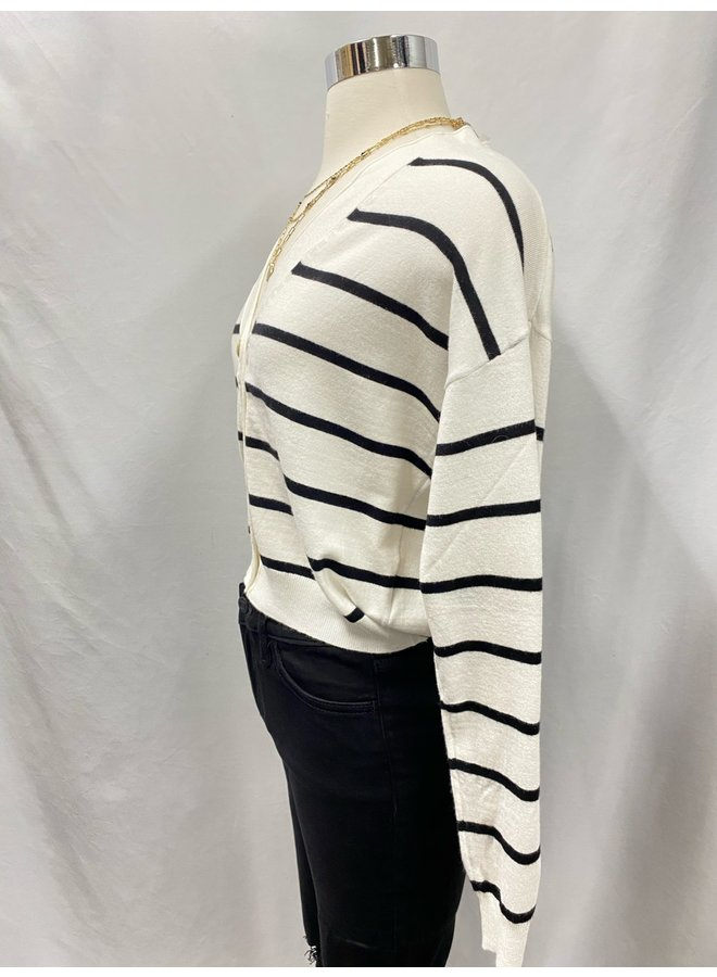 T4595-R STRIPED BUTTON CARDIGAN