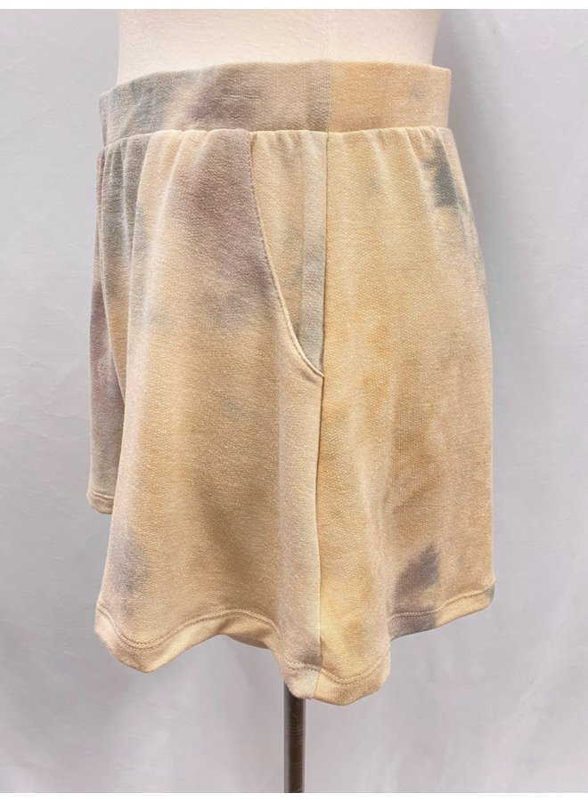P16757C TIE-DYE TERRY PULL-ON SHORTS