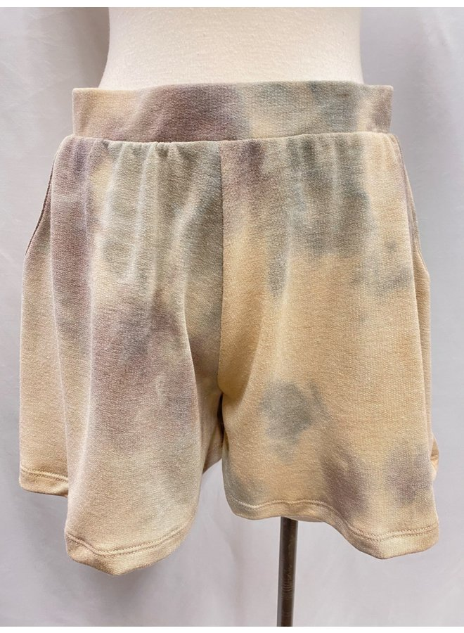 TIE-DYE TERRY PULL-ON SHORTS