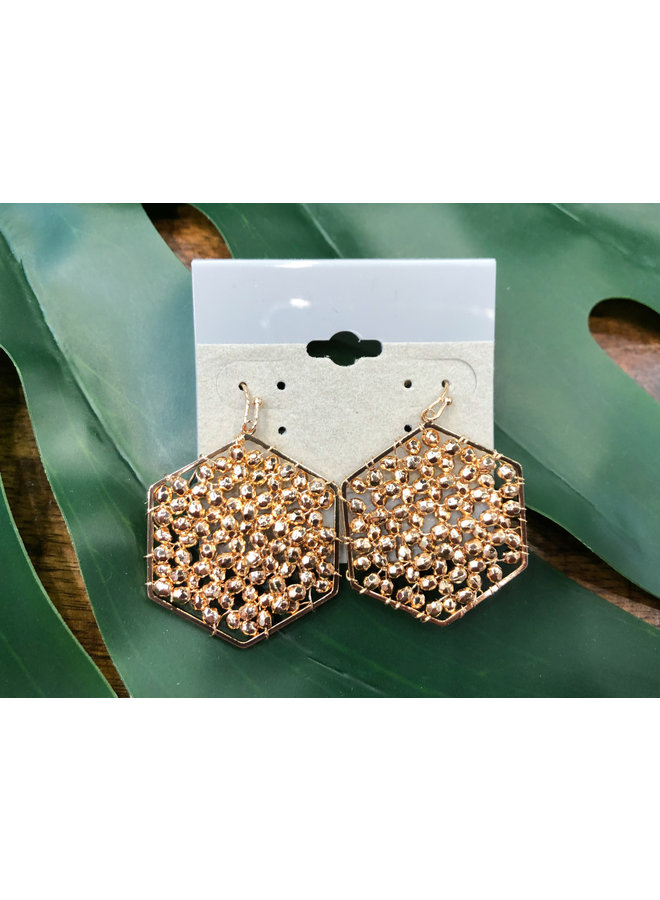 HEXAGON BEADED EARRINGS