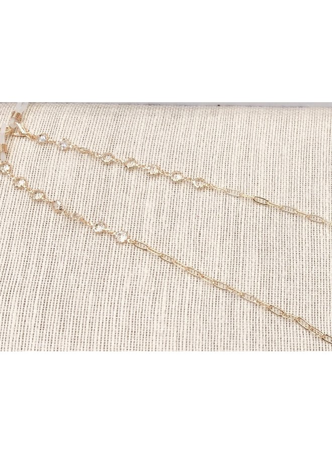 MASK CHAIN- GOLD LINK & CLEAR STONE