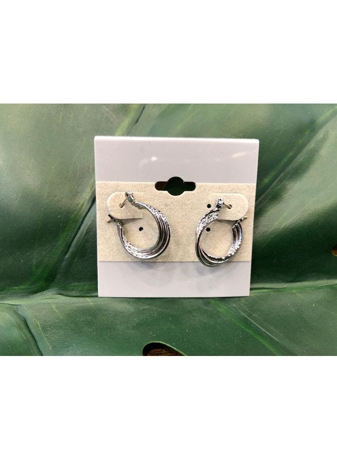 LAYERED MINI HOOP EARRINGS-SILVER