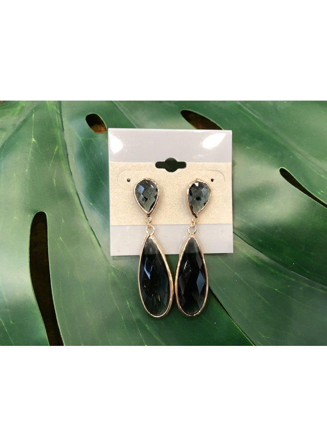 TEARDROP BEVELED GLASS EARRINGS-BLACK