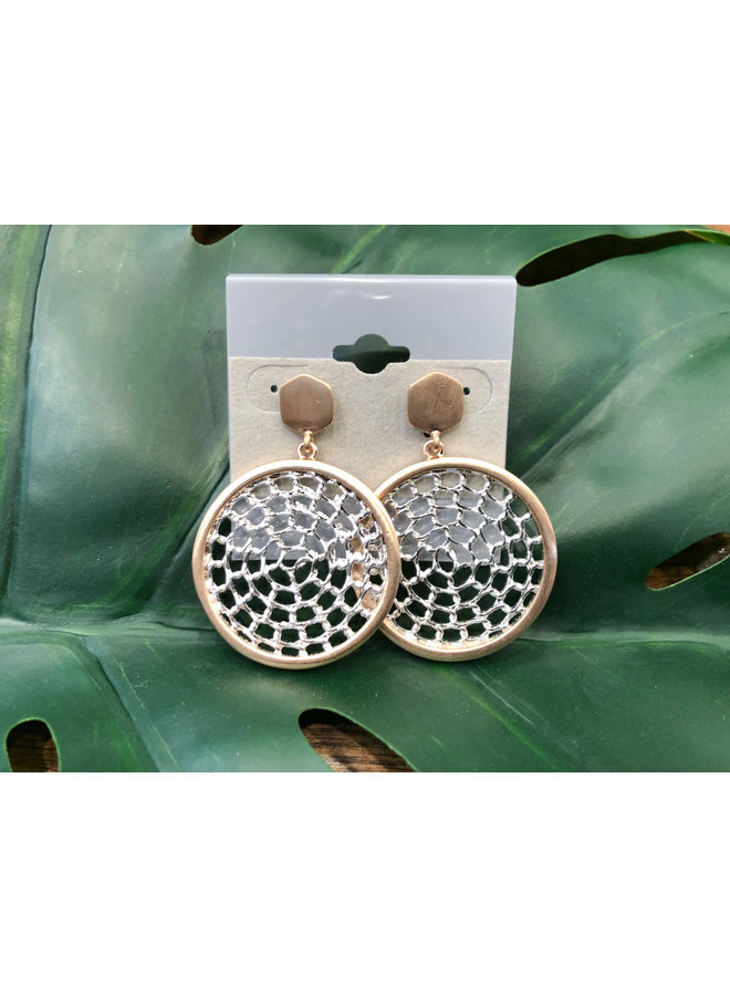 MIXED METAL WOVEN CIRCLE EARRINGS