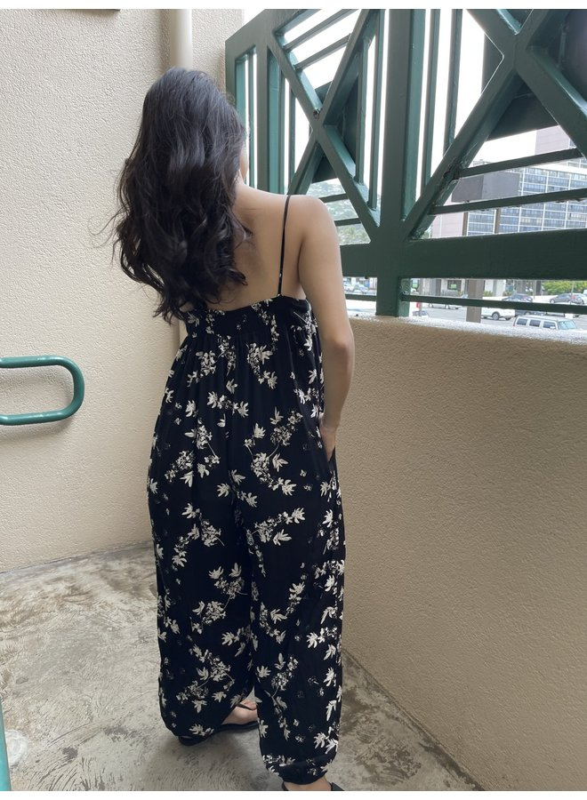 JU17232L FLORAL SLOUCHY FITTED JUMPSUIT