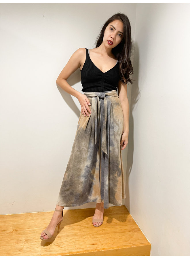P70112A TIE DYE TERRY PLEATED PANTS