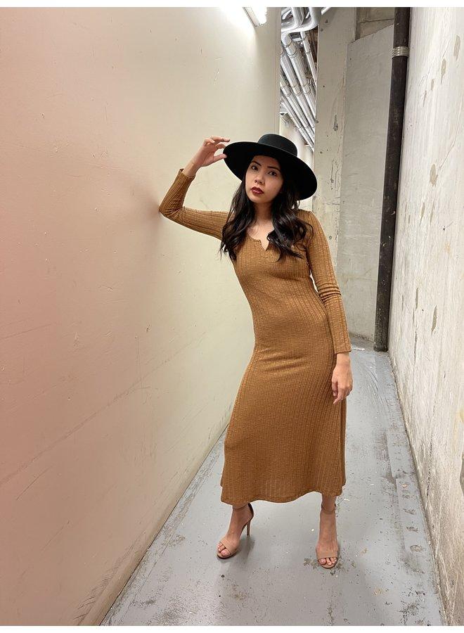 COTTON RIBBED MAXI DRESS