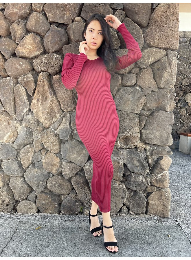 1118PD (OL) SWEATER BODYCON MAXI DRESS